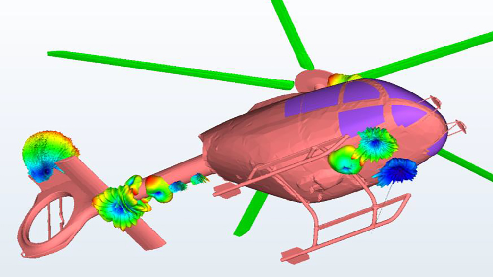 HF-Interferenzsimulation zur Antennenpositionierung an Helikoptern
