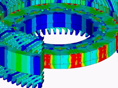 Electric motor simulation: Oscillating currents in the end windings of hairpin coils.