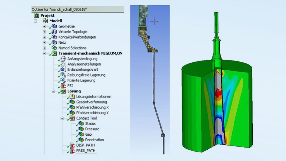 Fig. 2: Ansys Workbench Flexible Dynamics tree, 2D mesh of hammer equipment and hydro sound pressure.
