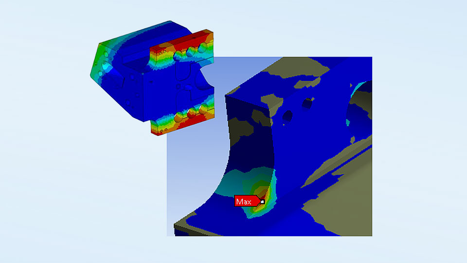 Colour gradient of the simulation Hardness distribution in the component