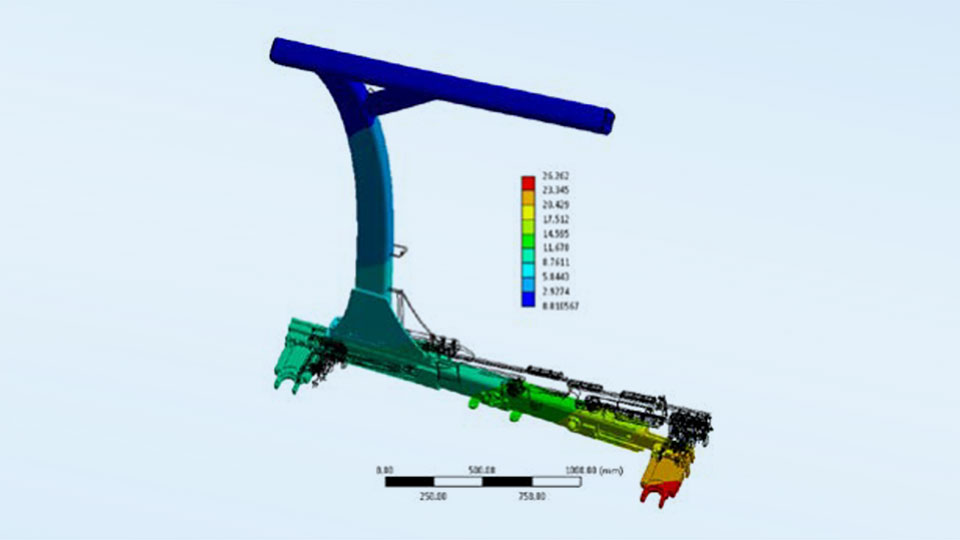 Simulation display of the total deformation of the hanger under load.