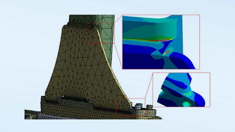 Simulation representation in detail, showing the welding seams.