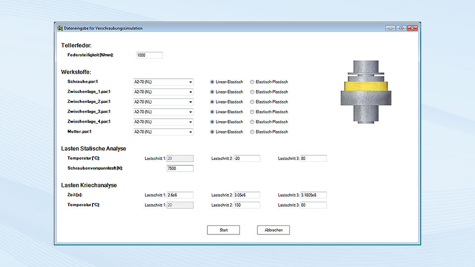 Input dialog box for the simulation parameters of the calculation with a disc spring.