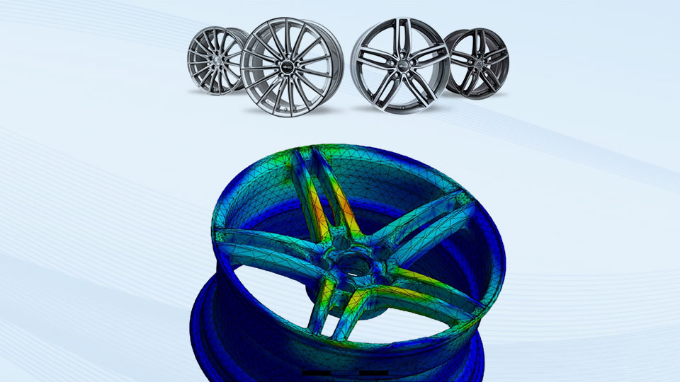 Picture collage with rims from the portfolio of Brock Alloy Wheels GmbH (above) and a typical simulation result (below)