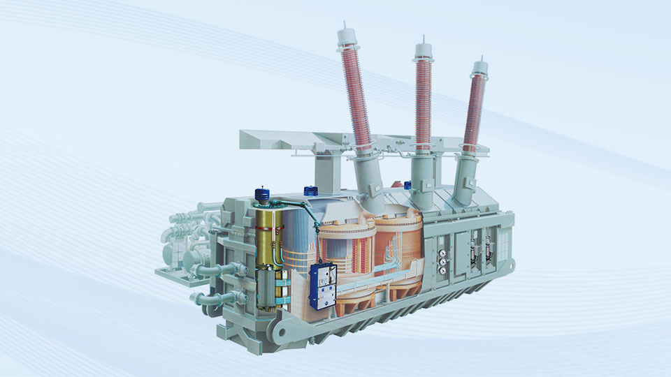 Power transformer with integrated on-load tap-changer and drive.
