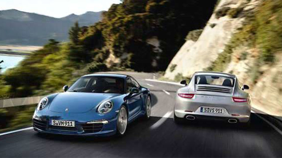 Porsche 911 on the road
