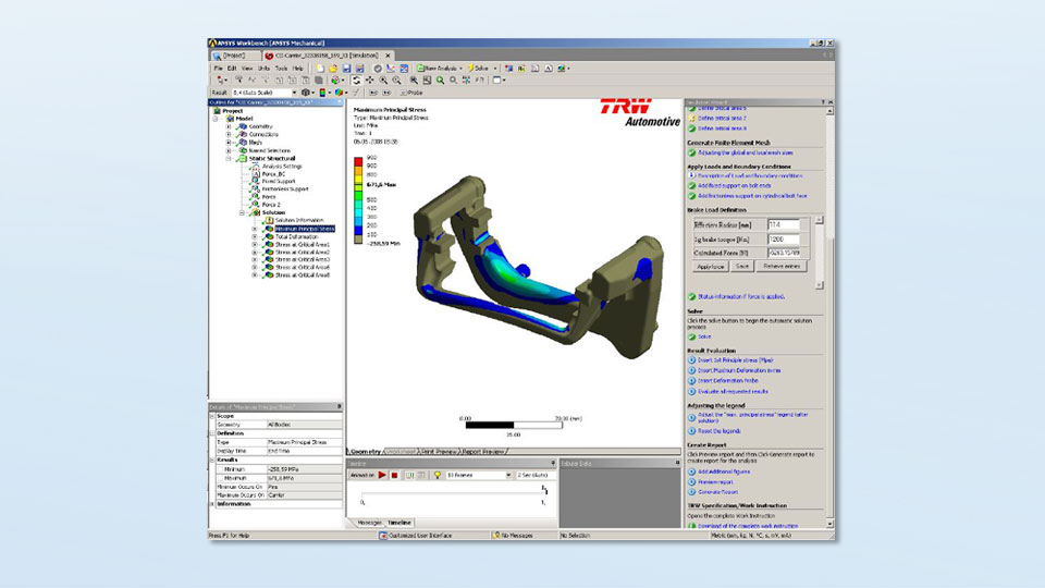 Screenshot of a calculation in Ansys Workbench for TRW